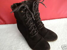 Skechers Suede Boot Shoe Lace Ankle Womens Size 10 Brown Wedge Lace Zippers
