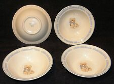 Tienshan Stoneware Country Bear Theodore Bear Soup Cereal Bowls, set of 4
