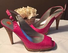 Jessica Simpson Hanson Pink Metallic Snake Print Sling Back Open Shoes Sz 8.5M