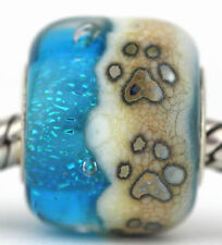 BEACH PAW PRINTS sterling silver european charm bead lampwork murano glass MWR