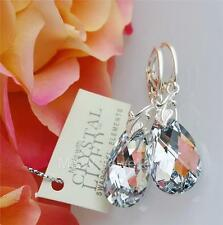 EARRINGS SWAROVSKI Elements ALMOND CRYSTAL CAL 22mm STERLING SILVER 925