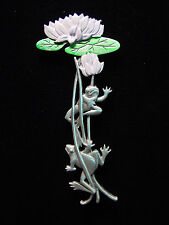 """JJ"" Jonette Jewelry Silver Pewter 'FROGS Climbing Lily Pad' Pin"