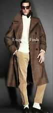 $5K NEW TOM FORD BEIGE BROWN WOOL PRINCE OF WALES DOUBLE BREASTED POLO COAT  XL