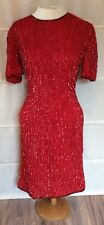 Vintage Lawrence Kazar NY Silk Red Sequined Dress Size Small Costume 80's Prom