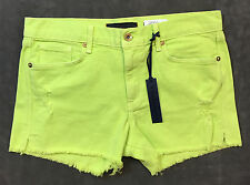 NEW JUICY COUTUTE LIME GREEN DiSTRESSED CUT OFF SHORTS SZ 28