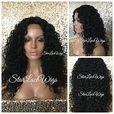 Long Curly Deep Wave Lace Front Wig Layer Off Black #1b Middle Part Heat Safe Ok