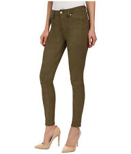 7 For All Mankind Suede Faux High Waist Ankle Knee Seam Skinny Olive Pant 24 NWT