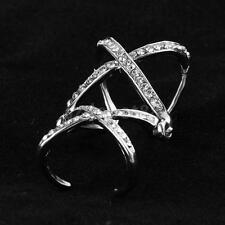 Adjustable Fashion Women Crystal Rhinestone Double Cross Finger Ring Silver