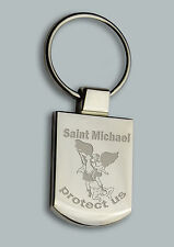 Engraved SAINT ST MICHAEL + your text - Personalised Keyring Boxed