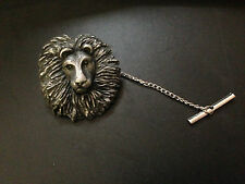 Lion Head Pewter Effect Animal Emblem On a Tack Tie Pin
