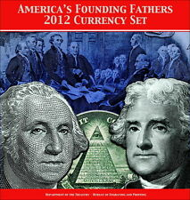 USA - America's Founding Fathers 2012 Currency Set UNC w/ folder ONLY 9000