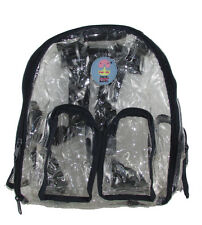 New Clear Navy Blue Transparent See-Thru Backpack Bag Handbag PVC size Small
