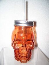 SKULL HEAD GLASS MASON JAR DRINKING CUP W/STRAW NW ORANGE SKELETON FIGURE