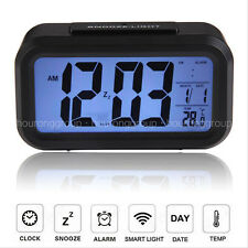Modern Battery Powered Digital Electronic LED Alarm Clock Backlight ABS Black