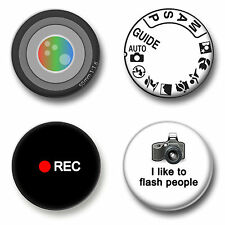 Photography Set 1 Inch / 25mm Pin Button Badges Camera Filming Photographer Fun