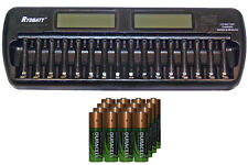 16 Bay AA / AAA LCD Battery Charger + 16 AA 2450 mAh Duracell NiMH Batteries