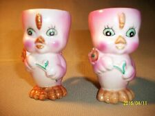 Two Vintage Hard Soft Boiled Egg Holders Chicken Bird Hand Painted