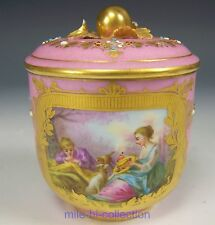RARE SEVRES FRANCE HAND PAINTED COURTING SCENE WITH JEWELS COVERED / SUGAR JAR