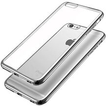 FUNDA PROTECTOR PANTALLA IPHONE 6S 6 4.7 SILICONA GEL TRANSPARENTE BORDE PLATA