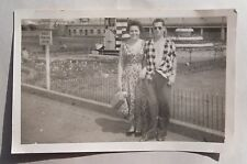 1950s B/W Photograph. Man & Woman on Holiday. Unbuttoned Shirt. Bowling Green