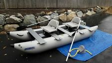 Sea Eagle Fold Cat 375FC Pontoon Boat with 2 Swivel Seats, oars, motor mount