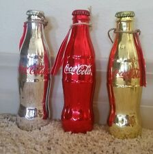 COCA COLA COKE COLLECTORS RED GOLD SILVER  BOTTLES  ALL 3