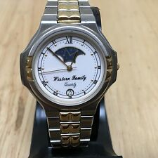 Vintage Western Family Swiss Parts USA Assembled Dual Tone Moon Phase Watch Hour