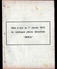 CONCESSIONNAIRE AUTOMOBILE SIMCA / Mise à jour de CATALOGUE Piéce détachée