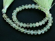 """8"""" Natural Green Prehnite Faceted Rondelle Gemstone Beads 5-6mm."""