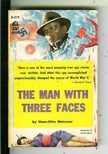 THE MAN WITH THREE FACES, rare US Ace #D319 spy gga pulp vintage pb