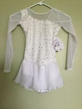 Icings New  LONG SLEEVE WHITE LACE COMPETITION ICE  SKATING DANCE BATON DRESS