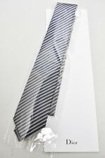 NEW Dior Classic Mans Silk Tie Blue Gray Stripes 100% Authentic Italy Made