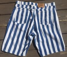 Vtg 80s 90s Mens LEVIS Striped USA Jean jeans SHORTS 38 Orange Tab Blue White