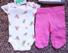 NWOT Girl's Size Preemie 2 Pc Carter's White/ Neon Pink Kitten Top, Footed Pants