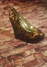Steve Madden Black Brown Animal Print  P-Gale Slip-On Wedge Pump Heel  US 8