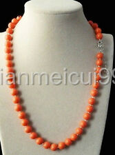"""Fashion Natural 8mm orange Akoya Cultured Shell Pearl Necklace 18"""" AAA"""