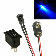Flashing Blue Small 3mm LED + Switch + PP3 Connector Car Dummy Fake Alarm