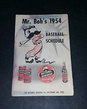 1954 Baltimore Orioles Natty Boh Pocket Schedule Tri-Fold Inaugural Year