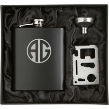Monogram Engraved Stainless Steel HIP FLASK MATTE BLACK Funnel Credit Card Tool