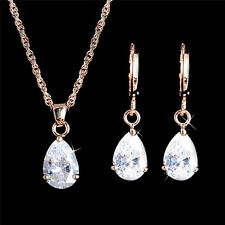 Shiny 18k Gold Filled Clear CZ Water Drop Woman Necklace Earrings Jewelry Set