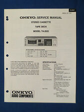 ONKYO TA-2022 CASSETTE SERVICE MANUAL ORIGINAL FACTORY ISSUE GOOD CONDITION