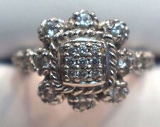 Judith Ripka Sterling Silver Cocktail Ring Clear CZ Size 7