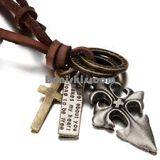 Vintage Celtic Fleur De Lis Cross Dog Tag Pendant Necklace w Leather Chain