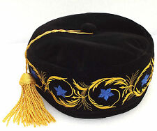 Imperial smoking cap Black hat Gold tassel Blue embroidered flowers 59 cm Large