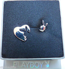 Playboy Jewellery Earrings Heart & Bunny Platinum Plated Studs, Swarovski PB0165