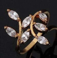 Jewelry Fashion Size 8 White Topaz 18K Gold Filled Anniversary Rings For Women