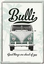 Nostalgic-type tôle carte postale 10x14 CM-vw camionnette good things are ahead of you