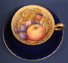 Aynsley Fine Bone China Tea Cup and + Saucer Set Cobalt Blue w/ Fruit Gold Trim