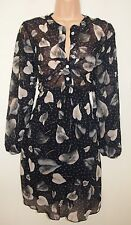WALG NAVY BLUE BLACK SPOTTY LEAVES LEAF SKATER CHIFFON SLEEVE VTG DRESS 8 S