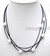 """SALE 10-11mm Rice natural Freshwater White Pearls 3 Strands 19-21"""" necklace-5935"""